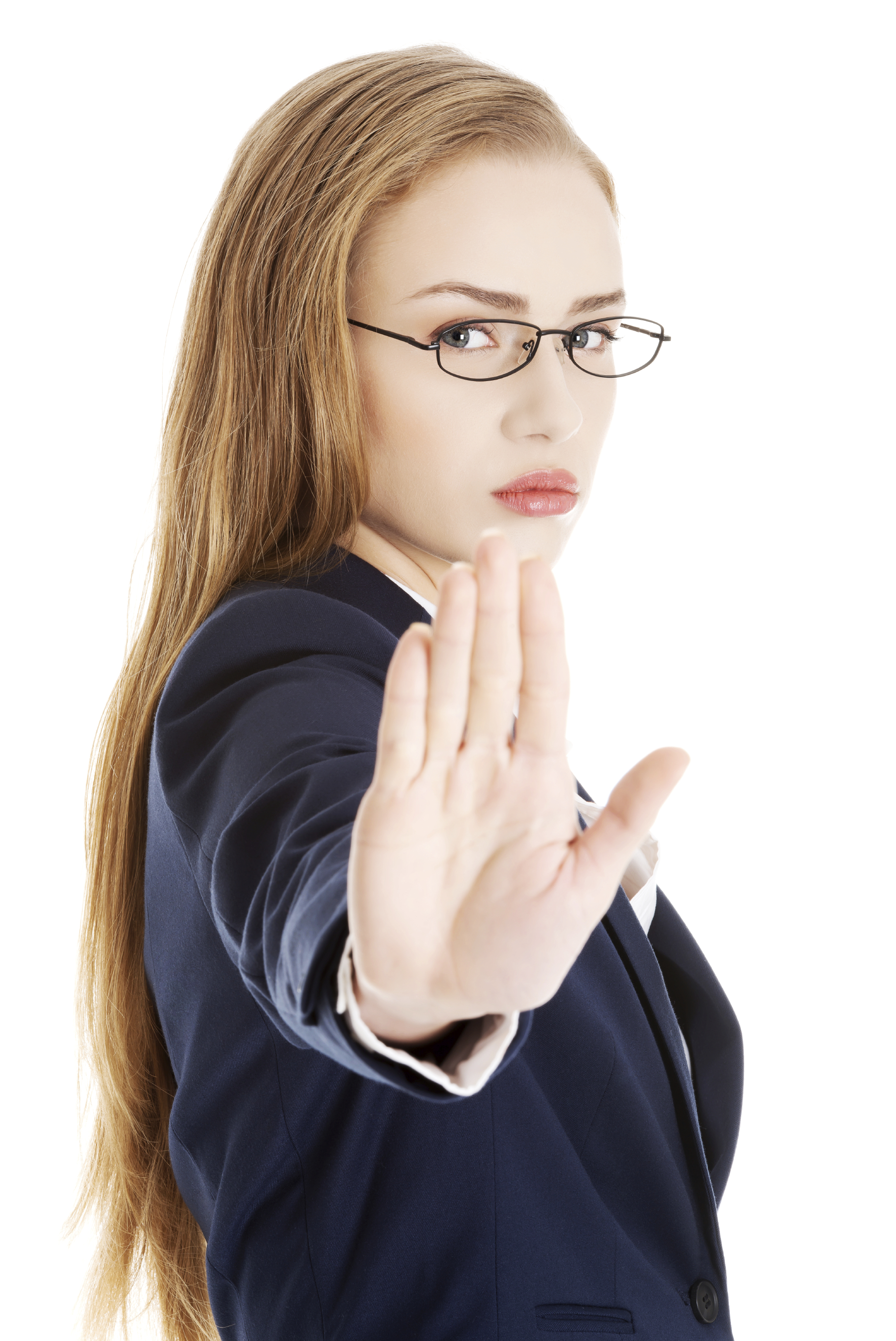 Beautiful business woman showing stop gesture by hand.